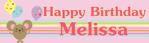 Little Mice (Pink) Birthday Customized Banner