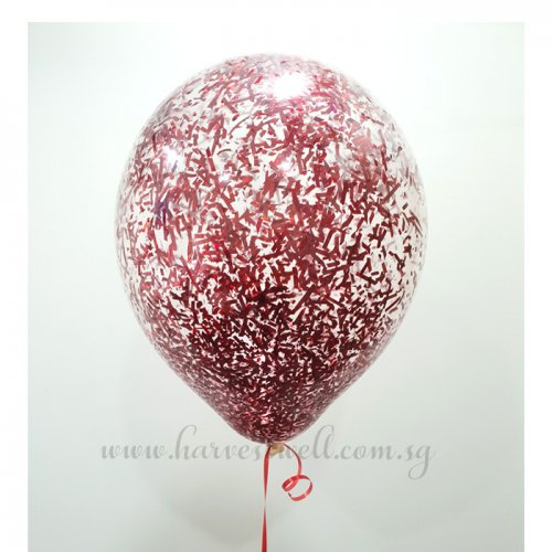 Red Glitter Helium Latex Balloon