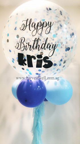 HBD Blue Mix Confetti Jumbo Helium Latex Balloon