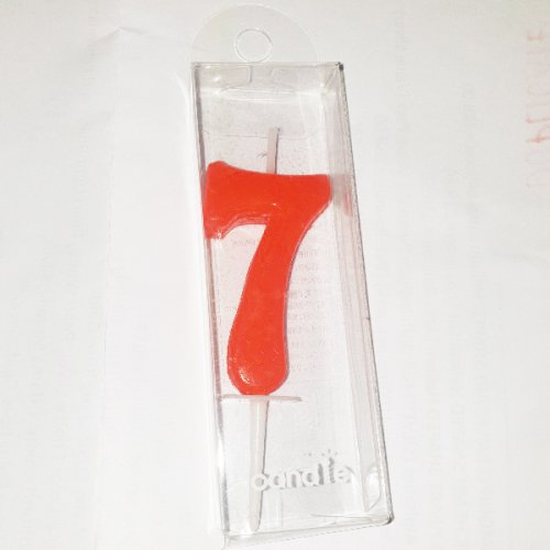 Red Number 7 Birthday Candle
