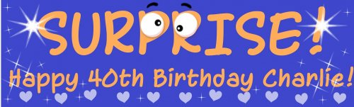 SUPRISE! Happy Birthday Customized Banner
