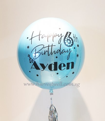 Customize HBD Light Blue ORBZ Balloon