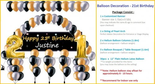 Balloon Decoration 21st Birthday Customized Theme Package