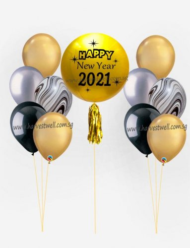 Personalize Happy New Year 2021 ORBZ Balloon Bundle Set