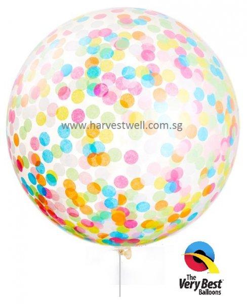 Rainbow Confetti Jumbo Helium Latex Balloon