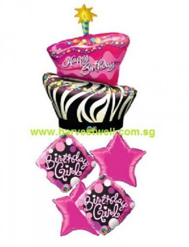Funky Birthday Girl Balloon Package