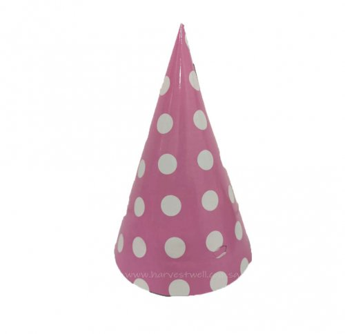 Pink with White Dots Party Hat