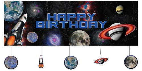 SPACE BLAST BIRTHDAY BANNER