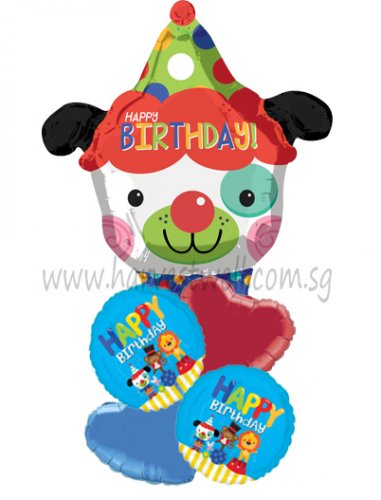 Happy Birthday Clown Dog JR Shape Balloon Package