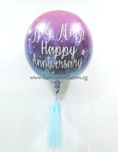 Customised Ombre Happy Anniversary Orbz Balloon