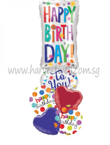 Happy Birthday Exclamation! JR Shape Balloon Package