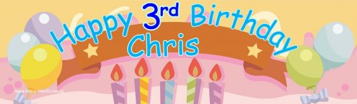 Pastel Birthday (Blue) Customized Banner