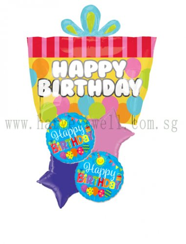 Happy Birthday Present JR Shape Balloon Package