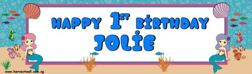 Mermaids Birthday Customized Banner