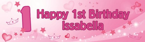Happy 1st Birthday Princess Customized Bannner