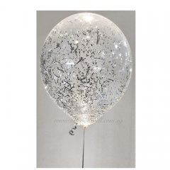 Silver Glitter Helium Latex Balloon
