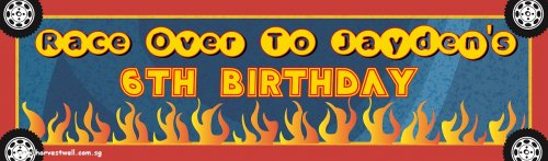 Race on His Birthday Customized Banner