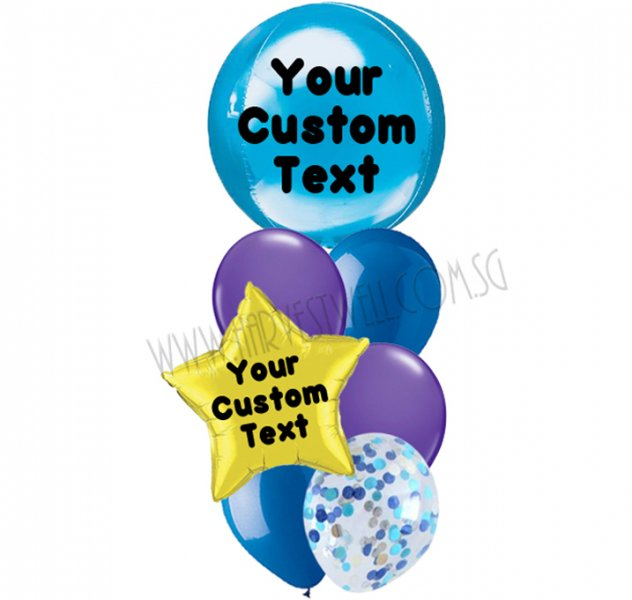 Personalised Blue Galaxy Theme Balloon Bouquet