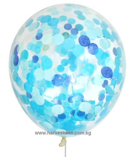 Confetti Helium Latex Balloon (Blue)