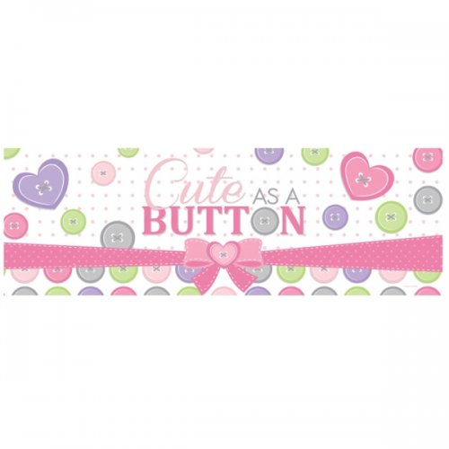 CUTE AS A BUTTON (pink) Giant Party Banner
