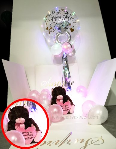 Customize Proposal Balloon Box with Ring in Bubble Balloon