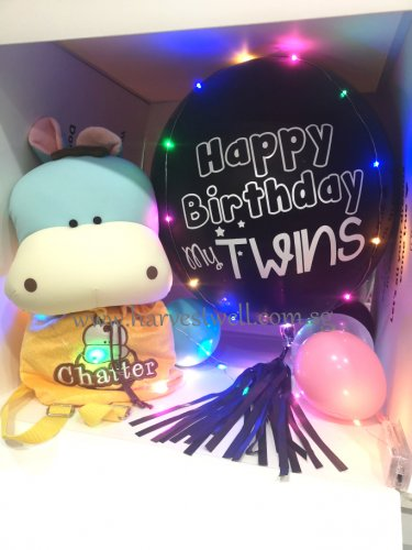 Customize Surprise Balloon Gift Box with Black ORBZ Balloon