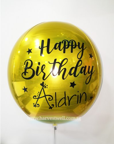 Customize Happy Birthday Gold ORBZ Balloon