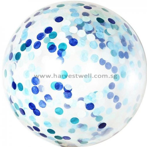 Blue Tone Confetti Jumbo Helium Latex Balloon