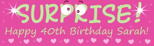 SUPRISE! Happy Birthday Pink Customized Banner