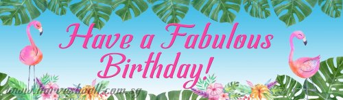 Have A Fabulous Birthday with Flamingo Customized Banner
