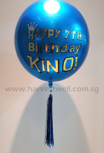 Customize Happy Birthday Shiny ORBZ Balloon