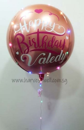 Customised Birthday Ombre Orange Red Orbz Balloon