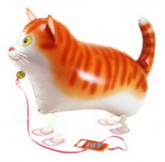 Walking Pet Animal Balloon - Cat (Golden)