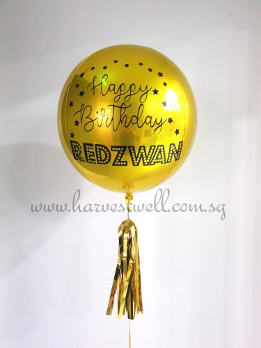 Customize Happy Birthday Stars and Dots ORBZ Balloon