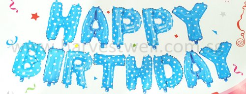 Happy Birthday Blue Stars Mini Letter Balloon Set