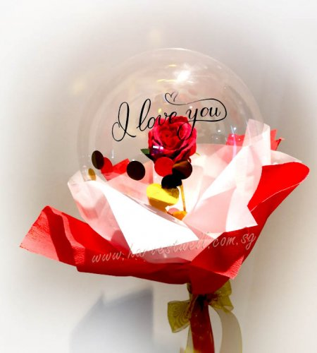 I Love You Personalized Red Rose Balloon Handheld Bouquet
