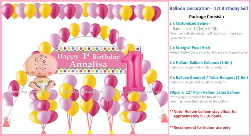 Balloon Decoration Birthday Girl Theme Package
