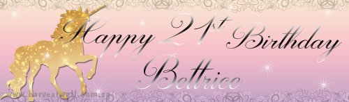 Unicorn Sparkle Birthday Customized Banner