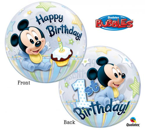 1st HBD Baby Mickey Bubble Balloon