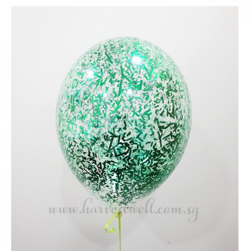 Green Glitter Helium Latex Balloon