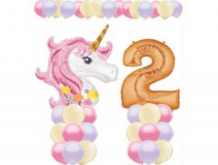 Pink Glitter Unicorn Balloon Value Package