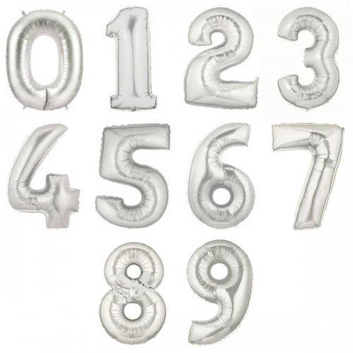 Megaloon Number Silver Foil Balloon