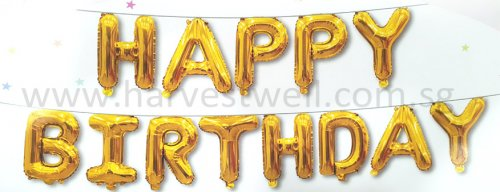 Happy Birthday Gold Mini Letter Balloon Set