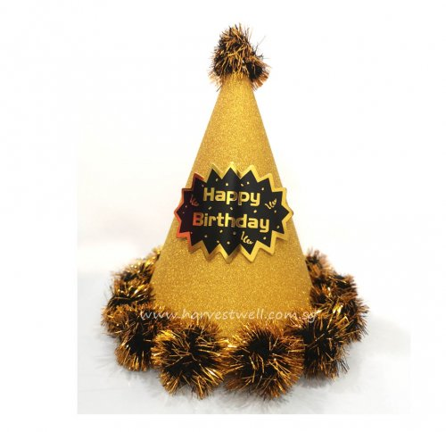 Gold Glitter Pop-Up Happy Birthday PomPom Party Hat