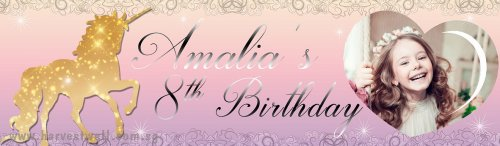 Unicorn Sparkle Birthday (Photo) Customized Banner