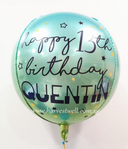Customised Happy Birthday Ombre Blue/Green Orbz Balloon