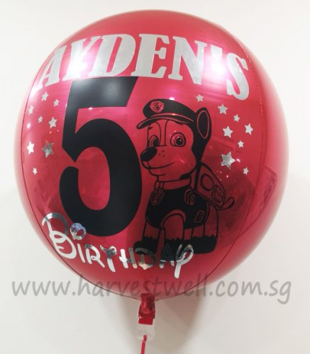 Customised Paw Patrol with Age Orbz Balloon