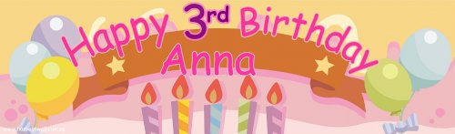 Pastel Birthday (Pink) Customized Banner