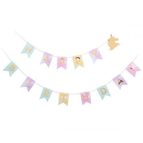 Happy Birthday Pastel with Gold Unicorn Jointed Banner
