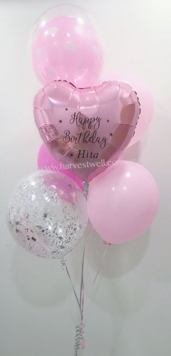 Customize Pink Birthday Balloon Bouquet